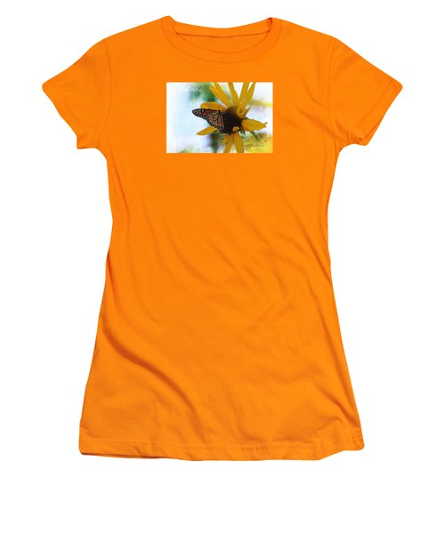 Women's T-Shirt (Junior Cut) featuring the photograph Monarch With Sunflower by Yumi Johnson