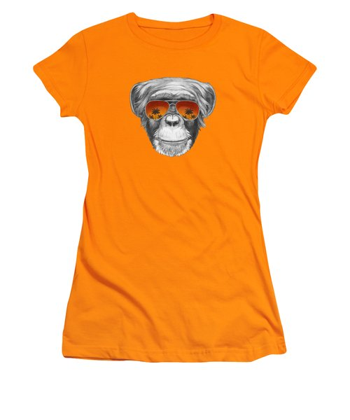 Monkey With Mirror Sunglasses Women's T-Shirt (Junior Cut) by Marco Sousa