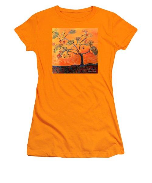 Orange Flamboyan Women's T-Shirt (Athletic Fit)