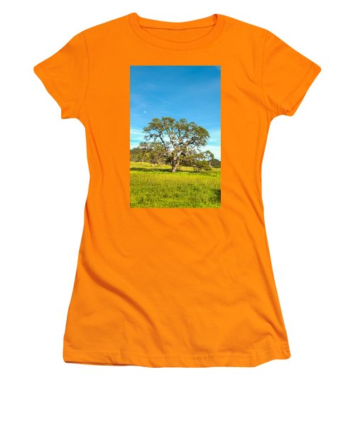 Moon Rising Meadow With Wild Flowers Women's T-Shirt (Athletic Fit)