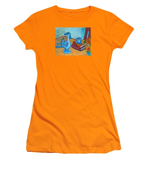 Women's T-Shirt (Athletic Fit) featuring the painting Morning Coffee Rooster by Xueling Zou