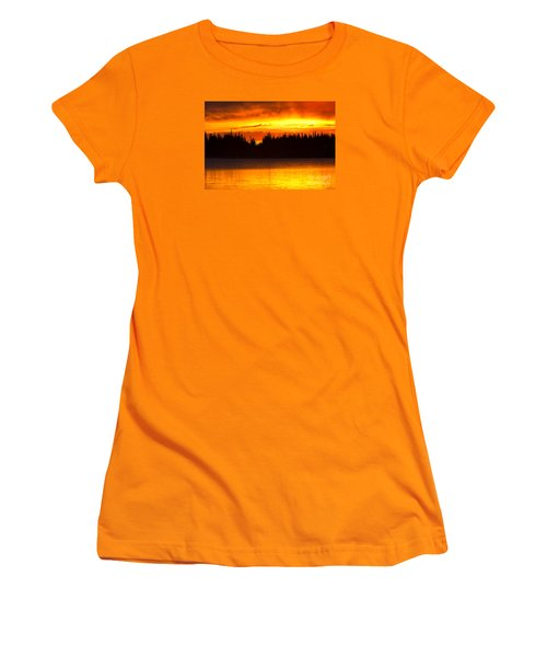 Women's T-Shirt (Junior Cut) featuring the photograph Morning Fire by Aaron Whittemore