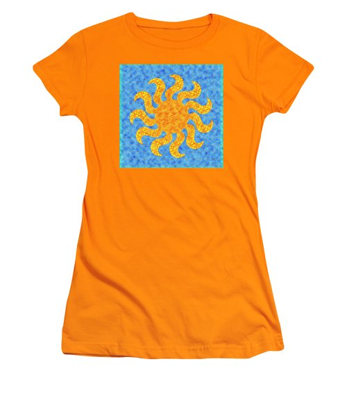 Mosaic Stained-glass Of The Sun Women's T-Shirt (Junior Cut) by Anton Kalinichev