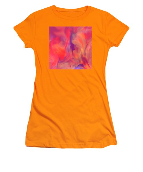 Women's T-Shirt (Junior Cut) featuring the painting Mother And Daughter Abstract by Sherri  Of Palm Springs
