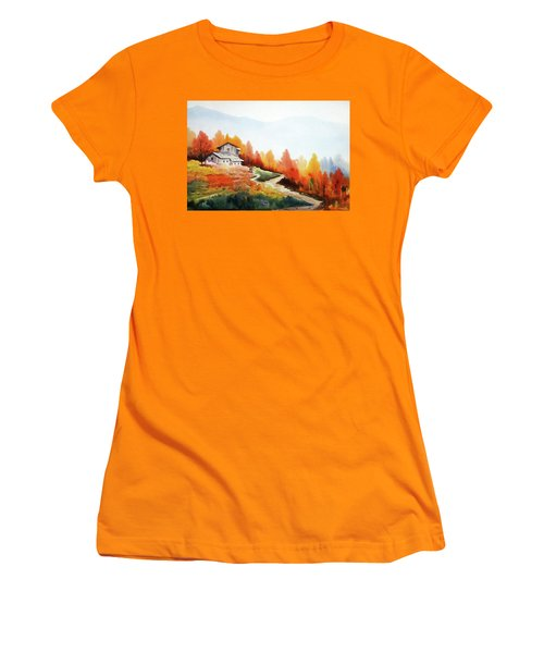 Mountain Autumn Forest Women's T-Shirt (Athletic Fit)