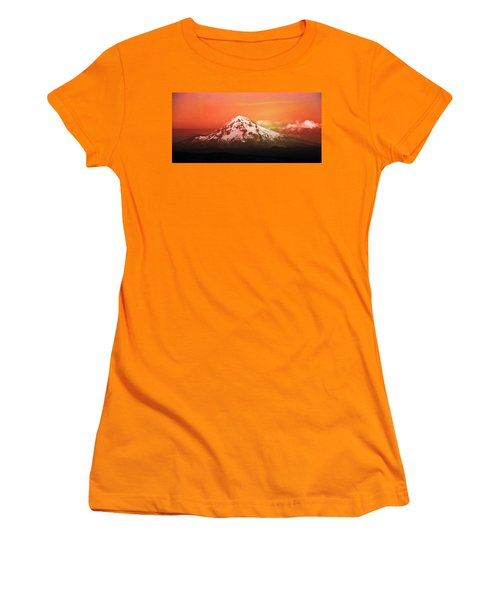 Women's T-Shirt (Athletic Fit) featuring the photograph Mt Hood Oregon Sunset by Aaron Berg
