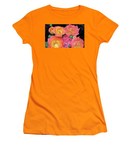 Women's T-Shirt (Junior Cut) featuring the photograph Multi-color Roses by Jerry Battle