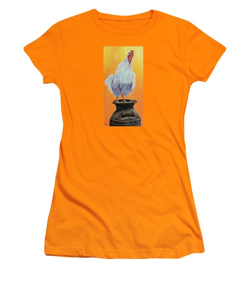 Women's T-Shirt (Junior Cut) featuring the painting My Crazy Chicken by Susan DeLain