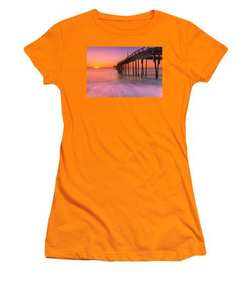 Nags Head Avon Fishing Pier At Sunrise Women's T-Shirt (Junior Cut) by Ranjay Mitra