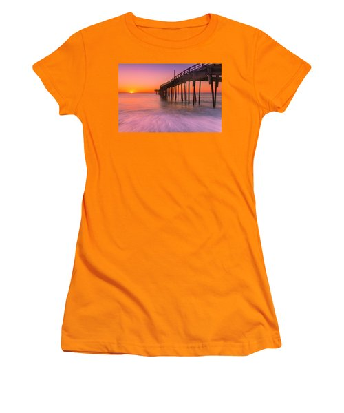 Nags Head Avon Fishing Pier At Sunrise Women's T-Shirt (Athletic Fit)