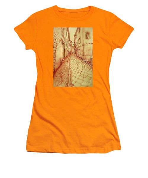 Women's T-Shirt (Junior Cut) featuring the drawing Narrow Street Of Lovere Italy by Maja Sokolowska