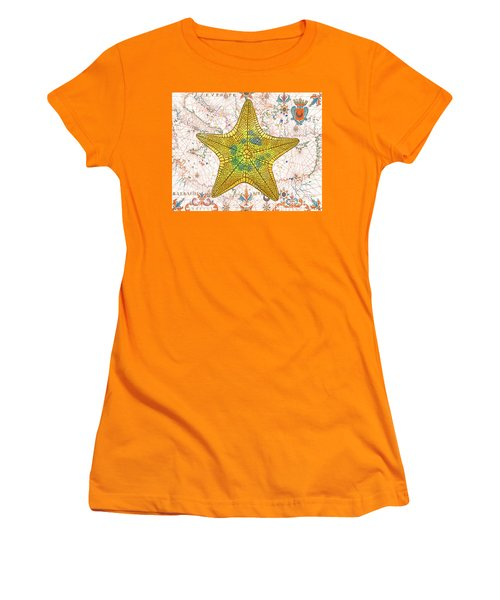 Women's T-Shirt (Junior Cut) featuring the painting Nautical Treasures-j by Jean Plout