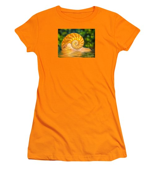 Nautilus Shell Submerged In Water Women's T-Shirt (Athletic Fit)