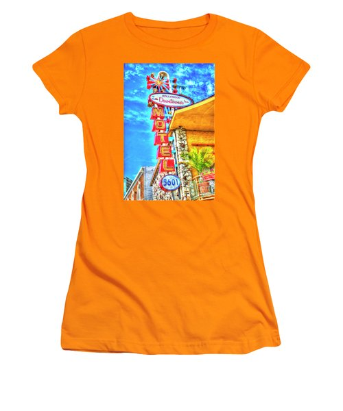 Neon Motel Sign Women's T-Shirt (Junior Cut) by Jim And Emily Bush