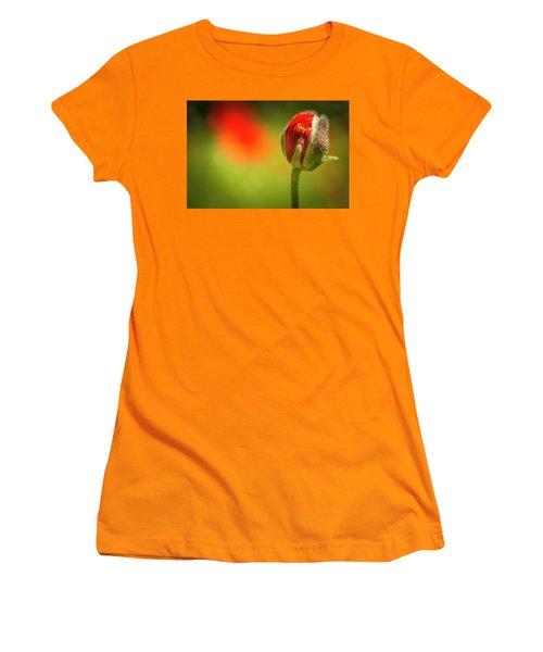 New Orange Poppy Bloom Women's T-Shirt (Athletic Fit)
