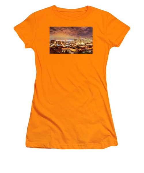 Night Panorama Of San Francisco And Oak Area Bridge From Ina Coolbrith Park - California Women's T-Shirt (Athletic Fit)