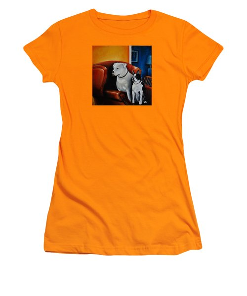 No Dogs On The Furniture Women's T-Shirt (Junior Cut) by Jean Cormier