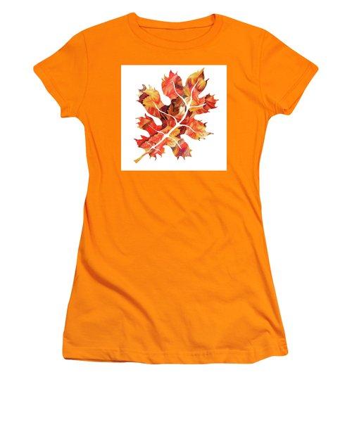 Women's T-Shirt (Athletic Fit) featuring the painting Oak Leaf Watercolor Silhoette by Irina Sztukowski