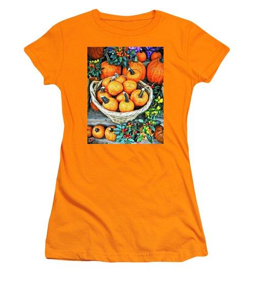 Women's T-Shirt (Junior Cut) featuring the photograph October Pumpkins by Joan Reese
