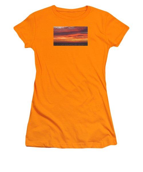 Women's T-Shirt (Junior Cut) featuring the photograph October's Sunrise On Sanibel Island by Melinda Saminski
