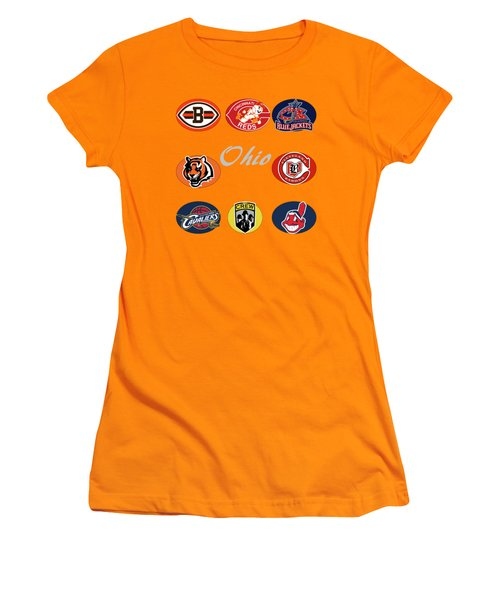Ohio Professional Sport Teams Collage Women's T-Shirt (Junior Cut) by Movie Poster Prints