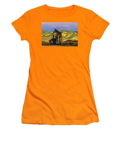 Women's T-Shirt (Junior Cut) featuring the photograph Oil Field And Temblor Hills by Marc Crumpler