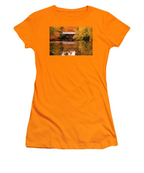 Women's T-Shirt (Athletic Fit) featuring the photograph Old Sturbridge Village Covered Bridge by Jeff Folger
