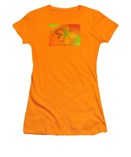 Orange Abstract Flower By Jasna Gopic Women's T-Shirt (Junior Cut) by Jasna Gopic