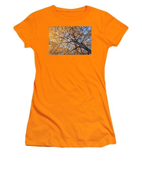 Orange Autumn Tree. Women's T-Shirt (Junior Cut) by Teemu Tretjakov