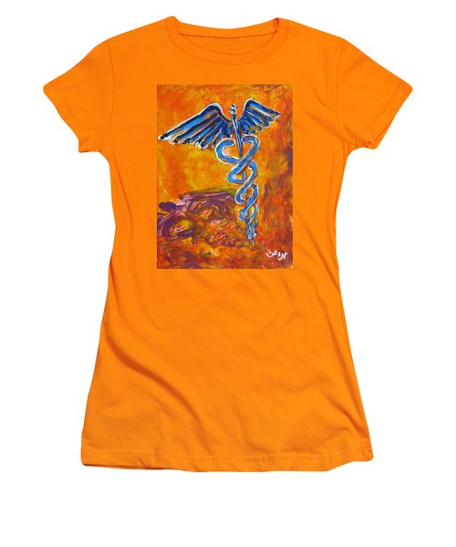Orange Blue Purple Medical Caduceus Thats Atmospheric And Rising With Mystery Women's T-Shirt (Junior Cut) by M Zimmerman