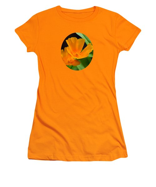 Orange California Poppies Women's T-Shirt (Junior Cut) by Christina Rollo