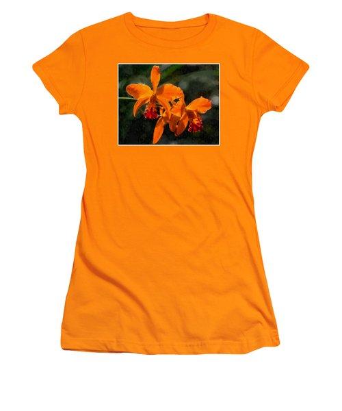 Women's T-Shirt (Junior Cut) featuring the digital art Orange Cattleya Orchid by Kai Saarto