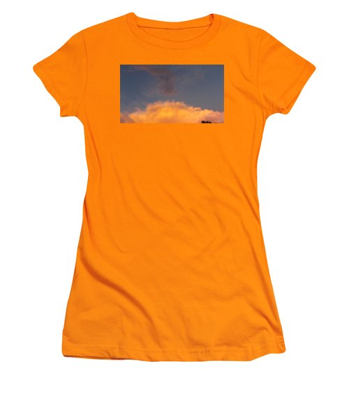 Orange Cloud With Grey Puffs Women's T-Shirt (Athletic Fit)