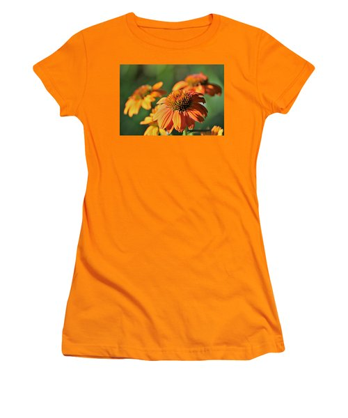 Women's T-Shirt (Athletic Fit) featuring the photograph Orange Cone Flowers In Morning Light by Sheila Brown