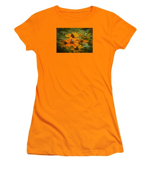 Orange Flowers And Bee Women's T-Shirt (Athletic Fit)