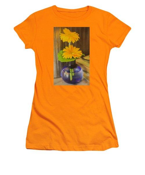 Orange Flowers Blue Vase Women's T-Shirt (Athletic Fit)