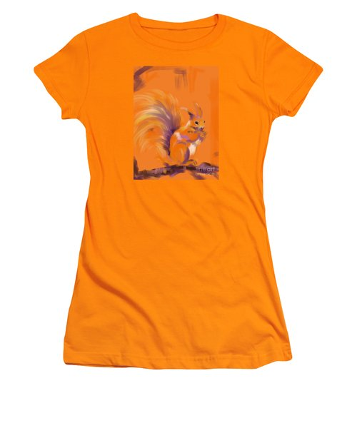 Orange Forest Squirrel Women's T-Shirt (Junior Cut) by Go Van Kampen
