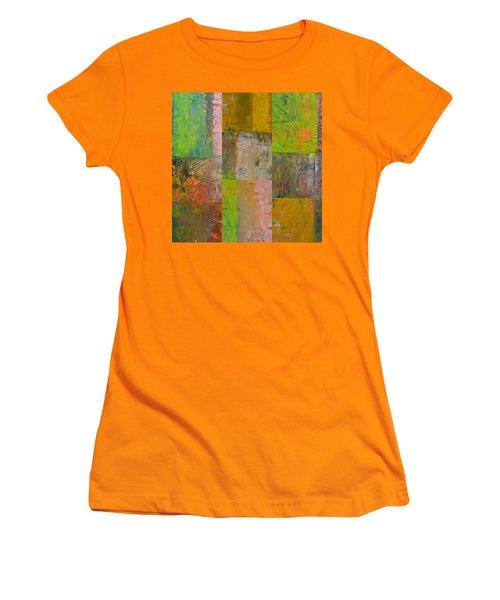 Women's T-Shirt (Athletic Fit) featuring the painting Orange Green And Grey by Michelle Calkins