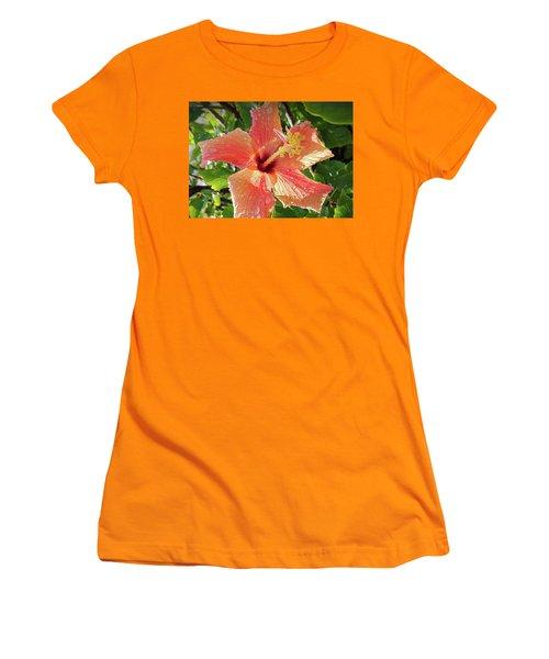 Orange Hibiscus Women's T-Shirt (Athletic Fit)