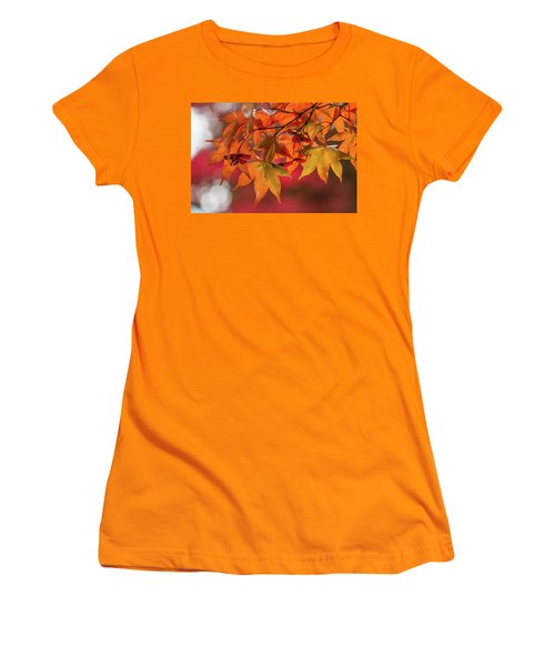 Women's T-Shirt (Athletic Fit) featuring the photograph Orange Maple Leaves by Clare Bambers