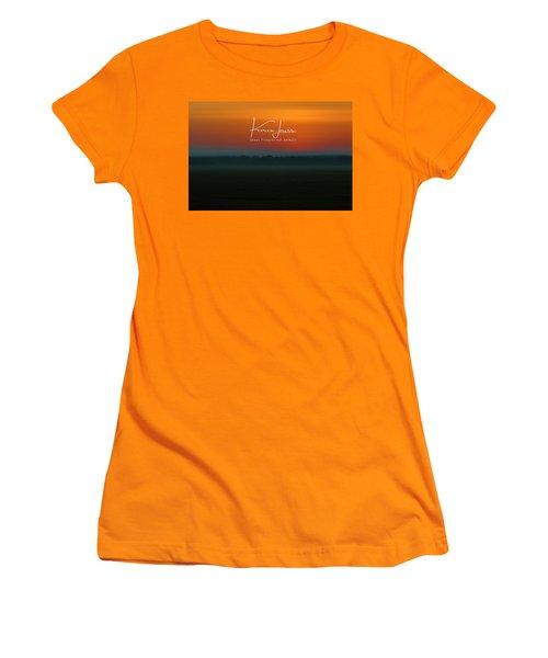 Women's T-Shirt (Junior Cut) featuring the photograph Orange Mara Dawn by Karen Lewis
