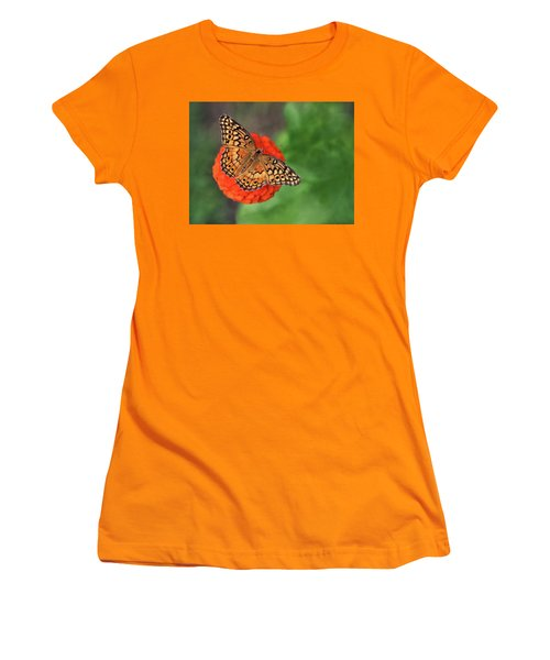 Orange Orange Green Women's T-Shirt (Athletic Fit)