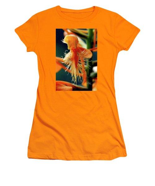 Women's T-Shirt (Junior Cut) featuring the photograph Fringed Orange Orchid by Meta Gatschenberger