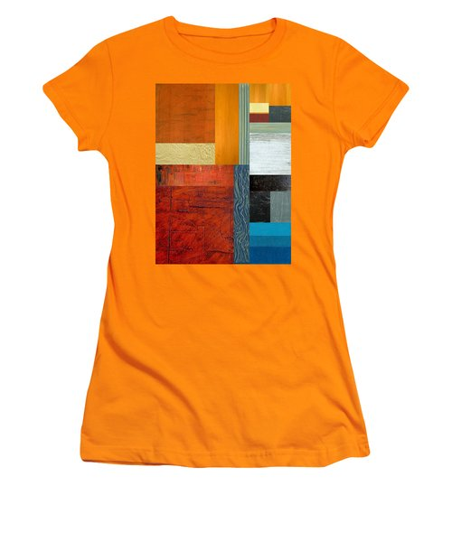 Women's T-Shirt (Junior Cut) featuring the painting Orange Study With Compliments 1.0 by Michelle Calkins