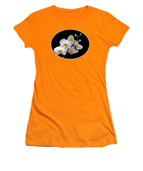 Orchids On Black And Orange Women's T-Shirt (Junior Cut) by Gill Billington