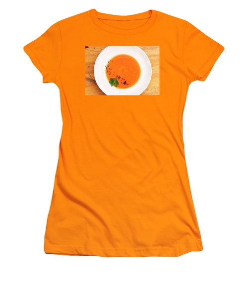 Organic Fresh Carrot And Pumpkin Soup With Sesame Seeds Women's T-Shirt (Athletic Fit)