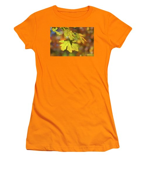 Painted Golden Leaves Women's T-Shirt (Athletic Fit)
