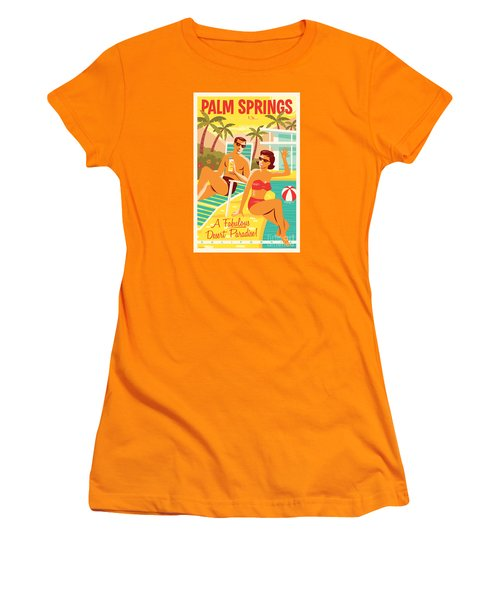 Palm Springs Retro Travel Poster Women's T-Shirt (Athletic Fit)