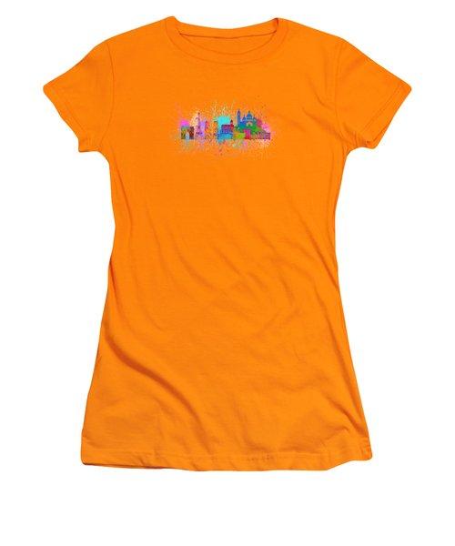 Paris Skyline Paint Splatter Color Illustration Women's T-Shirt (Athletic Fit)
