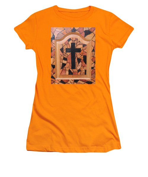 Women's T-Shirt (Junior Cut) featuring the pyrography Patchwork And Cross by Lisa Brandel